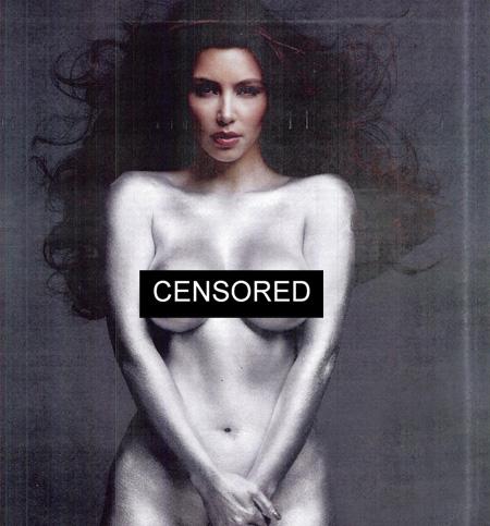 kim kardashian silver paint w magazine. Kim Kardashian poses nude and
